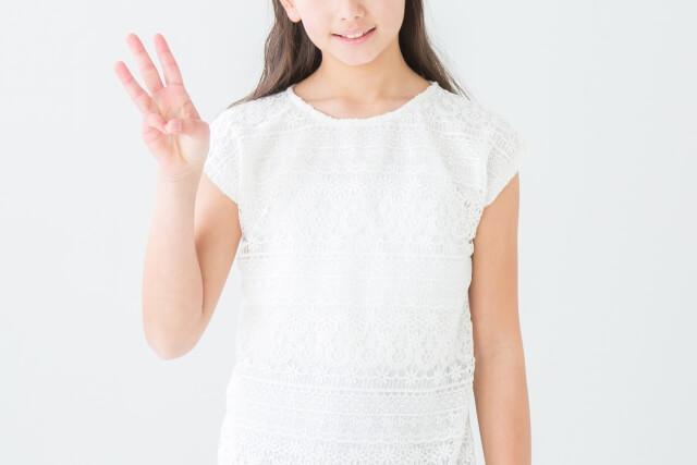 3本の指を立てる女の子のイメージ画像